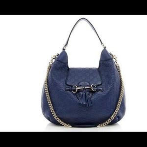 Gucci Emily Large Guccissima Leather Blue Bag